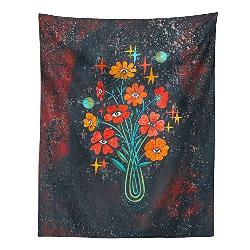 KHKJ Tapiz psicodélico Cielo Estrellado Flor Planta decoración de Pared tapices Hippie decoración Boho decoración del hogar Mural A5 200x150cm