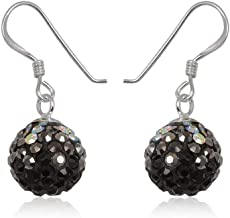 925 Sterling Silver Sparkle Round Ball Women Black Jet Grey Hematite Crystal Color Earrings