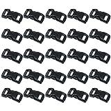 Black Plastic Side Release Buckles for Paracord Bracelets (3/8 Inch, 120 Pack)