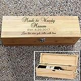 Clibesty Personalized Wooden Wine Box, Wedding Gift Box, Anniversary Wine Box, Custom Engraved Gift Single Wine Box (Wooden)