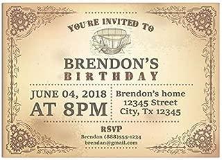Steampunk Boat Flying Birthday Party Invitations