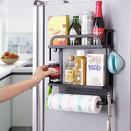 EUNEWR especiero magnético nevera,estante lateral nevera negro,especieros magneticos,soporte para toallas de papel&4 ganchos extraíbles,estante magnético para refrigerador,horno microondas