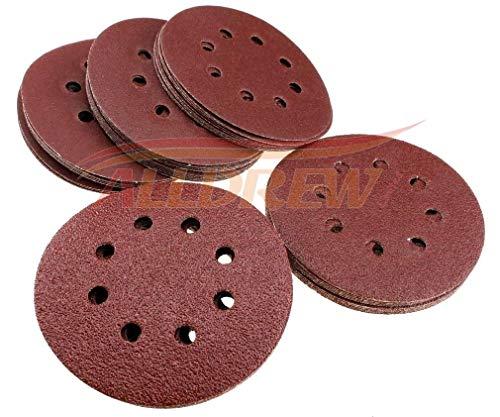 125mm Schleifscheiben 10x 40 80 120 180 240 KORN 8 Löcher Klettband 5'' Schleifpapier 50 Stück Gemischt für Exzenterschleifer
