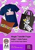 Transferpapier/Bügelpapier/Transferfolie für DUNKLE Textilien/Stoffe von Raimarket | 5 Blatt | A4...