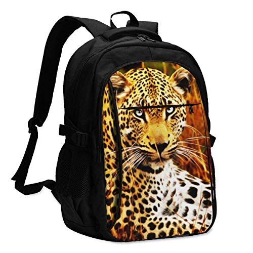 XCNGG Tiger Drawing Travel Laptop Mochila College School Bag Mochila Informal con Puerto de Carga USB