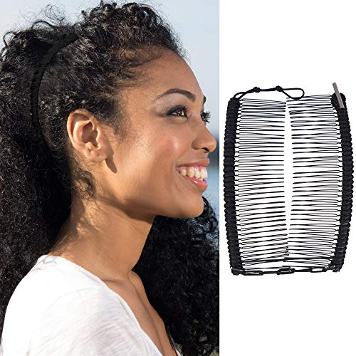 Stretchy Banana Hair Clip for Thick Natural Curly Hair - Comfy Damage Free All-Day Hold, Easy Hair Up in Seconds, No Damage, Creases, or Pain - Make Comfy UpDo's, Fro-Hawks, Ponytails (Black Satin)