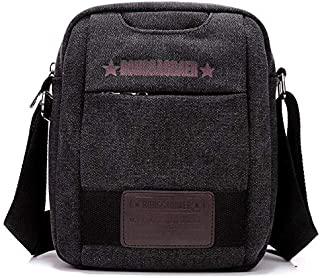 Canvas Bag Canvas Shoulder Bag Men's Fashion Messenger Bag Casual Bag Diagonal Canvas Bag (Color : Black)