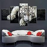 DBFHC Art Cuadros En Lienzo Animal Tigre Blanco Decoracion De Pared 5 Piezas Modernos Mural Fotos para Salon Dormitori Baño Comedor 150X100Cm