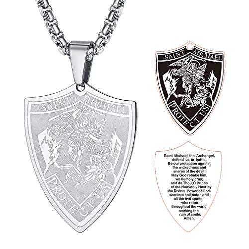 FaithHeart Joya Protecdora Acero Metal Collar con Inscripción Biblia Cadena de Eslabones Cuadrados Unisex Hombre Mujer Escudo San Miguel Arcángel Uso Diario