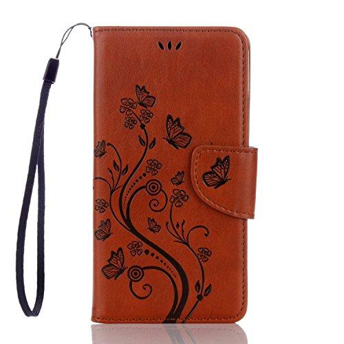 WindTeco Funda Huawei Honor 5C, Retro En Relieve Mariposa y Flor Patrón Carcasa Cartera Flip de Piel PU Libro Billetera con Función de Soporte y Ranuras de Tarjeta para Huawei Honor 5C, Marrón