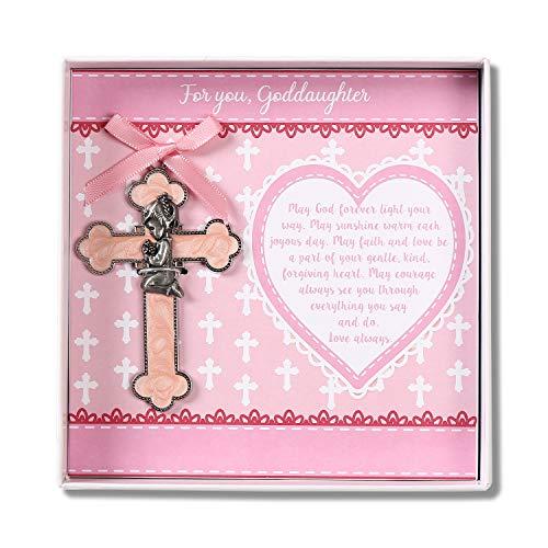 TRULIVA Goddaughter Gift, Pink Praying Girl, Baptism Gift for Baby Girl, Christening Wall Cross, First Holy Communion Cross, Baby Shower Keepsake (Goddaughter)