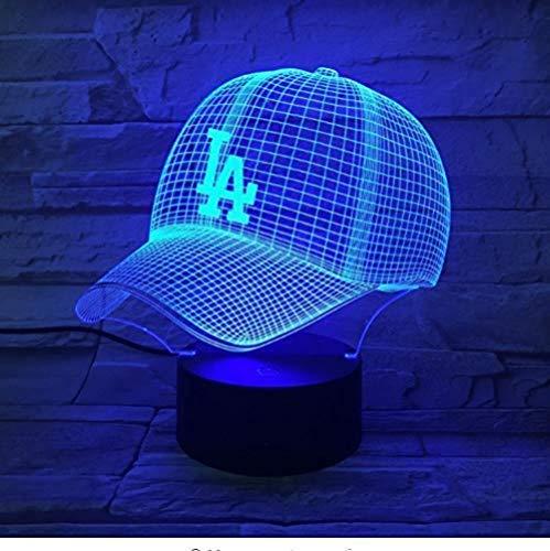 ZWANDP Los Angeles Dodgers Baseball Cap 3D LED Nachtlicht USB Dekoration Lampara Kinder Kinder Geschenk Farbwechsel Tischlampe Schlafzimmer