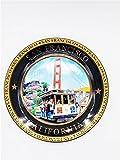 (44 7/18) San Francisco Color Collage Collectors Souvenir Plate 8' Golden Gate Bridge Cable Car with Copyrighted CA Bear Magnet