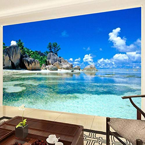 3D vliesbehang personaliseerbaar schilderij fotobehang 3D oceaan zee strand foto achtergrond vliesbehang voor slaapkamer woonkamer muurschildering wooncultuur 400 x 280 cm.