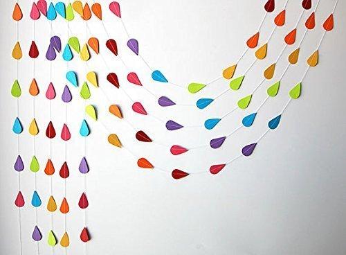 Glasgow traders Rainbow garland, Paper raindrops, Raindrop paper garland, Nursery decor,April showers,Spring garland,Raindrop baby shower,