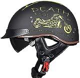 Casco de motocicleta con visera de liberación rápida con hebilla ECE/DOT aprobada por medio cara, cascos para hombres y mujeres, para bicicleta, scooter, ATV Chopper Scooter (color: F)