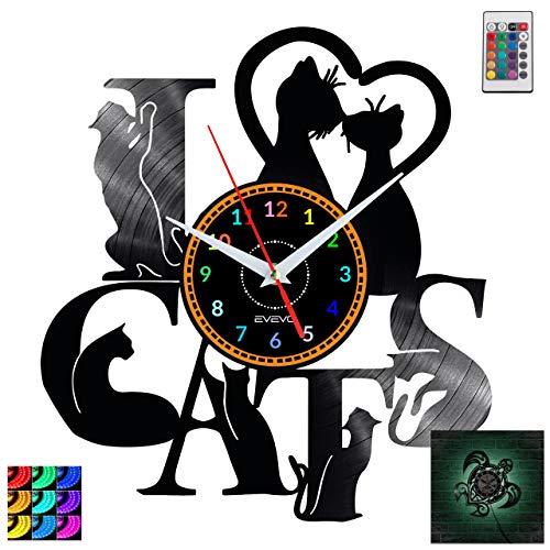 EVEVO Katzen Katzen Wanduhr RGB LED Pilot Wanduhr Vinyl Schallplatte Retro-Uhr Handgefertigt Vintage-Geschenk Style Raum Home Dekorationen Tolles Geschenk Uhr