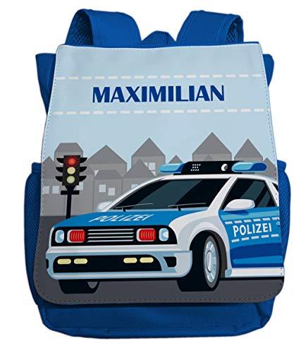 Kinderrucksack für Jungen mit Namen | Motiv Polizei & Blaulicht | Kleiner Kindergartenrucksack inkl. Wunschname & Brustgurt in den Farben blau, hellblau oder rot (Royalblau)