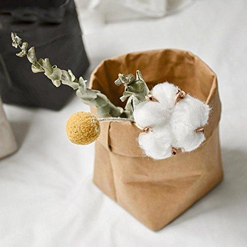 Hunpta Sac en papier kraft lavable, 8 x 8 cm, sac en papier kraft lavable, pot de fleurs, sac de rangement multifonction pour la maison (marron)