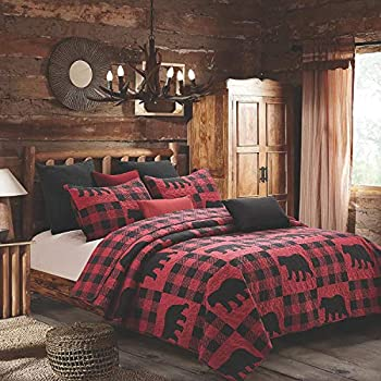 Quilt Bedding Set in King by Virah Bella - Buffalo Bear Plaid Red Printed Lightweight Reversible Quilt with 2 Matching Pillow Shams - Cozy & Beautiful Lodge-Themed Bedding