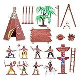 NUOBESTY 1 Juego de Figuras de Plástico Indias Juego de Juguetes Figuras Nativas Americanas Tienda de Tótem Vaquero del Oeste Salvaje con Caballo Kit en Miniatura para Niños Regalo de