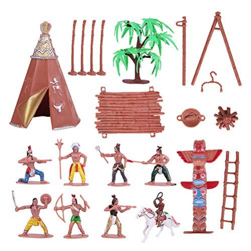 NUOBESTY 1 set di statuette in plastica indiane gioco di giocattoli statuette native americane negozio di totem jeans selvaggio con cavallo, kit in miniatura per bambini regalo