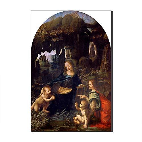 Five-Seller Virgen De Las Rocas-Louvre por Leonardo Da Vinci Lienzo Cuadros Famosos Reproducción De Arte Impreso En Lienzo Arte De Pared Arte para Decoraciones para El Hogar (60_x_90_cm)