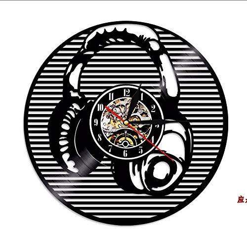 Hanjiming 1 Stuk Oortelefoon Ontwerp Moderne Vintage Vinyl Klok Lp Wandklok Luister naar Muziek Led Licht Slaapkamer Creatieve Tijdstuk Gift Voor Dj
