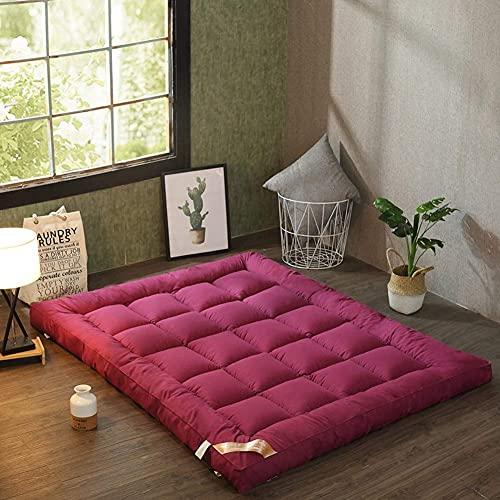 Colchón de futón japonés Colchón de Tatami Engrosado Colchón Enrollable Suave Topper Dormitorio Colchón de Camping (Color: Rojo Tamaño: Completo)