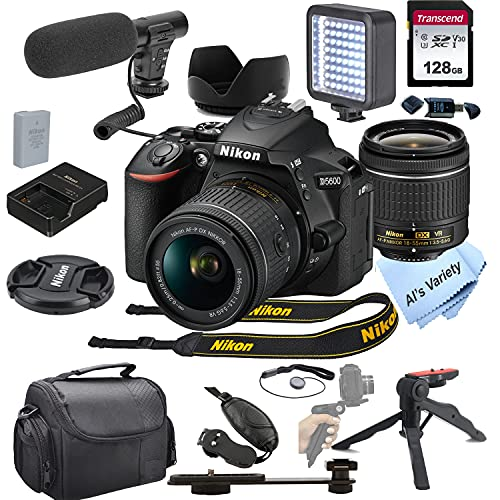 Nikon D5600 DSLR Camera with 18-55mm VR Lens + Shot-Gun Microphone + LED Always on Light+ 128GB Card, Gripod, Case, and More (18pc Video Bundle)