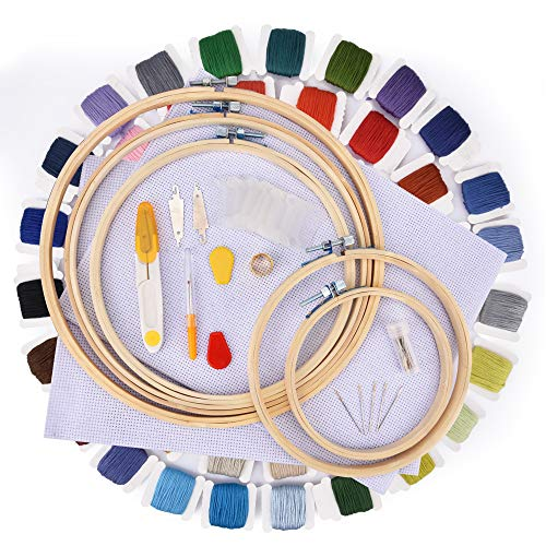 刺しゅうキット AUSHEN刺繍ツールセット 竹製 刺繍枠5本 60色刺繍糸  刺繍針30本 刺繍用布2枚18x12インチ ...