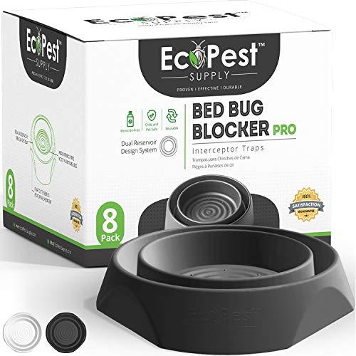ECOPEST Trappole per Cimici dei Letti – Confezione da 8 | Trappole Intercettatori Bed Bug Blocker (PRO) (Nera) | Monitor, Rilevatore e Trappola per Le Gambe del Letto