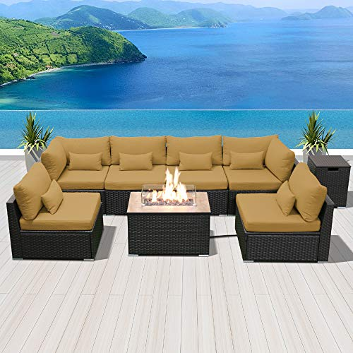 Modenzi Outdoor Sectional Patio Furniture with Propane Fire Pit Table Espresso Brown Wicker Resin Garden Conversation Sofa Set (G7 Sofa Rectangular Fire Pit, Dark Beige)