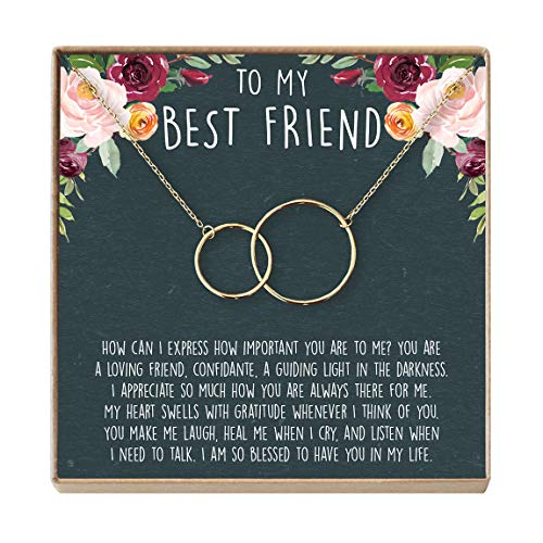 Best Friend Necklace - Heartfelt Card & Jewelry Gift for Birthday, Holiday, More (2 Interlocking Circles Gold)