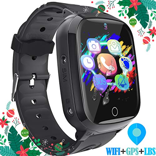 YENISEY Kids Smart Watches GPS Tracker - 12 Hrs Waterproof Smartwatch with 1.4' Touch Screen WiFi GPS LBS Track SOS 2 Way Call Voice Chat Pedometer Health Fitness Watch for Boys Girls (Black)