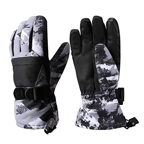 Aisprts Ski Gloves, Warmest Waterproof and Breathable Snow Gloves for Mens,Womens,Ladies and Kids Skiing,for Parent Child Outdoor (Gray, M(Fit Kids 8-10 Years Old))