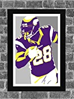 Minnesota Vikings Adrian Peterson Portrait Sports Print Art 11x17