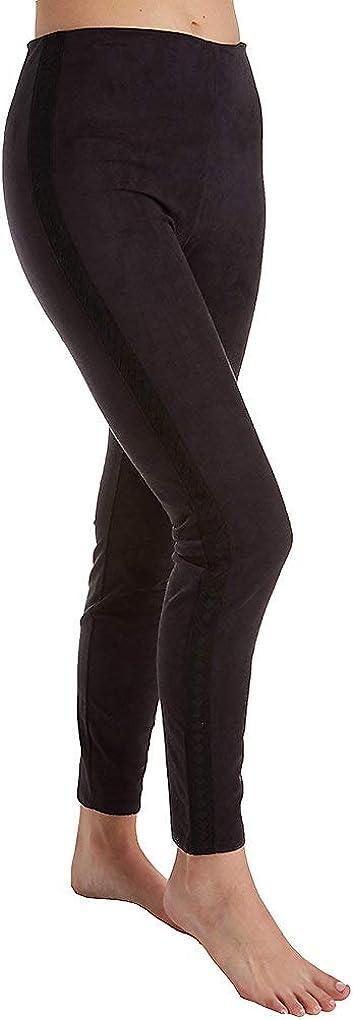 Lyssé Women's Nora Faux Suede Braid Legging Pants, Black, L