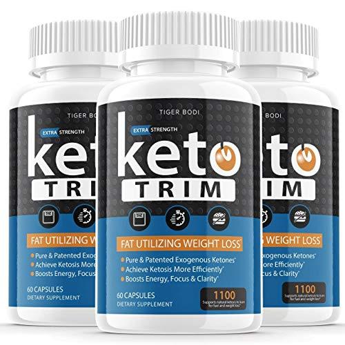 (3 Pack | 1100 MG) Keto Trim Pills 800 Shark Tank, Trim Fast Keto Pill Weight Loss Diet Supplement for Energy, Focus - Exogenous Ketones for Rapid Ketosis - Ketogenic BHB for Men Women (180 Capsules)