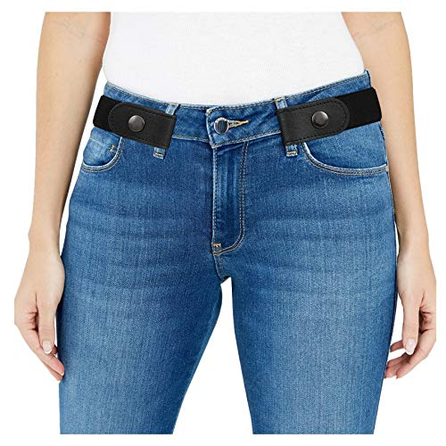 Women/Men Buckle-Free Elastic Belt for Jeans - 1.25' Ladies Invisible Waist Belt Fits 24' to 48' (Fit for waist size 35-48in, 01 Black(Black Buckle))