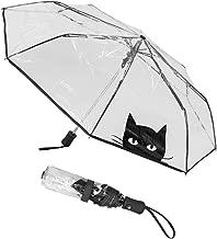 die tragbaren dreifachgefalteten Damenmode-Regenschirm schwarz//pink Falten Wifehelper Transparente Regenschirme Rosa