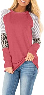 Winsummer Womens T Shirts Leopard Print Patchwork Tops for Women Long Sleeve Leopard Printed Casual Tunic Top Blouse