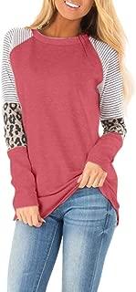 Mebamook Sweatshirt for Women, Women's Pullover Casual Leopard Printing Long Half Sleeve Tank Top T Shirt Blouse Sweatshir