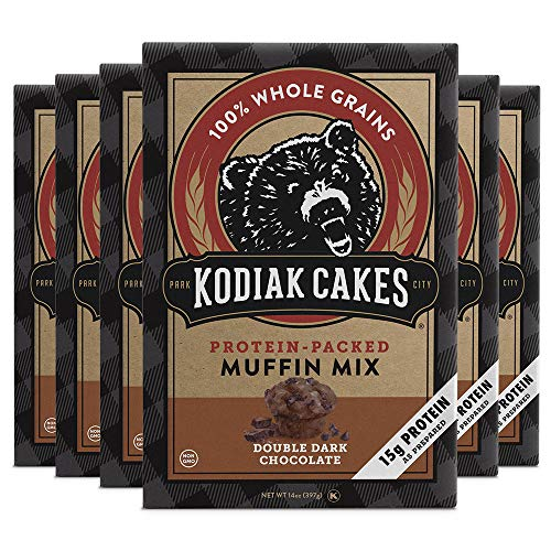 Kodiak Cakes Protein Muffin Mix, Double Dark Chocolate, Power Muffins, High Protein and Fiber (15 grams of protein per serving), Non-GMO, Made with 100% Whole Grains, Six Boxes (14 Oz / box)