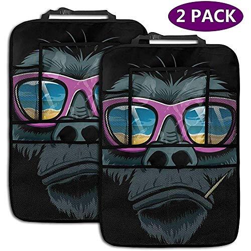 Du-shop 2er Pack Auto Rücksitz Organizer, Gorilla mit Sonnenbrille Organizer Rücksitz ProtectorKick Matte mit 4 Aufbewahrungstaschen
