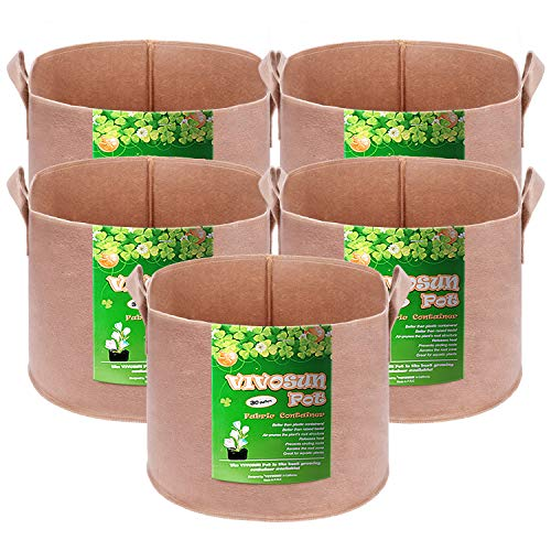 VIVOSUN 5-Pack 30 Gallons Heavy Duty Thickened Nonwoven Fabric Pots Grow Bags with Strap Handles Tan