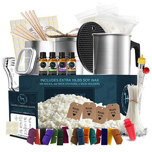 Hearth & Harbor DIY Candle Making Kit for Adults and Kids, Candle Making Supplies, 12 Lbs. Soy Candle Wax Flakes, Complete Soy Candle Kit Making, Premium Candle Making Set
