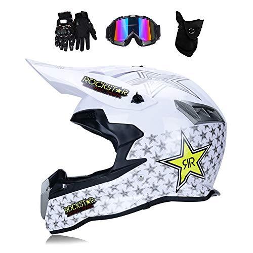 MRDEAR Motocross Helm Weiß/Rockstar, Motorrad Off Road Crosshelm mit Brille Handschuhe Maske, Enduro MTB Helm Fullface Fahrrad Helm Cross Helm Motorradhelm für Downhill Bike ATV BMX,M