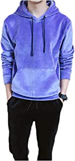 Howely Men's Two Pieces Hooded Velvet Casual Movement Tops Outwear and Pants Outfit