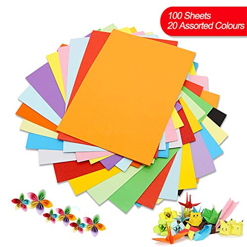 Cartulina de colores A4, 100 unidades, 230 g, 20 colores surtidos, papel de origami, manualidades y decoración, papel de dibujo y corte, papel de impresora de colores (297 x 210 mm)